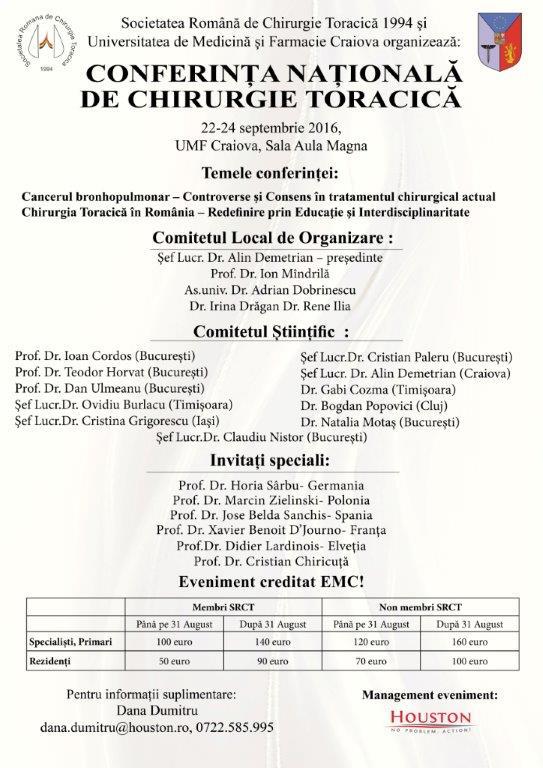 invitatie conferinta nationala de chirurgie toracica 2016 umf craiova